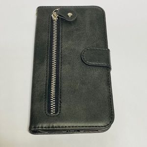 Black iPhone 11 pro case, PU LEATHER & zipper